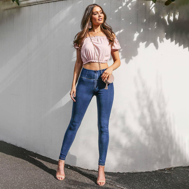 Melody 4 วิธียืดสูงเอวกางเกงยีนส์Dark/Light Blue Zipper Fly DENIMกางเกงยีนส์Super Skinnyกางเกงยีนส์Mujer 2019