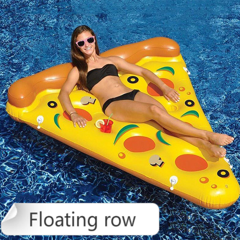 1pcs New Type Of Pizza Floating Row Ride Adult Swimming Circle Inflatable Floating Bed Recliner Water Party Supplies Water Toys