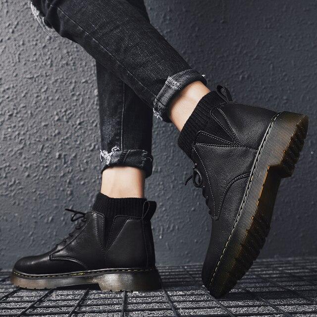 Купить мужские эластичные ботинки из воловьей кожи размеры 39 44 картинки цена