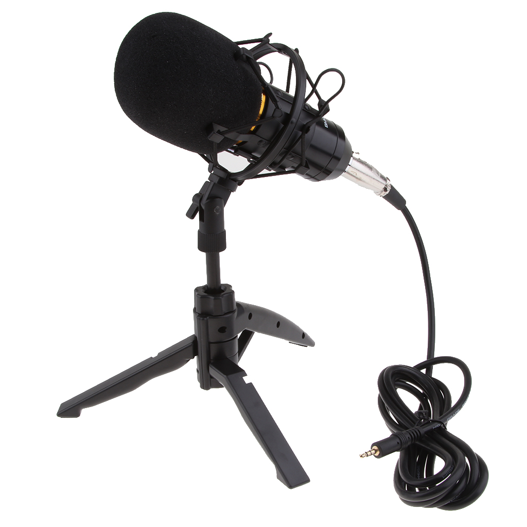 BM800 Plug And Play Condenser Microphone, Home Studio Recording Broadcasting Interview Karaoke With Tripod Stand Filter Shield