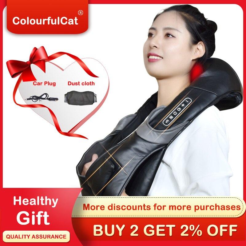 Электрический роликовый массажер для шеи для боли в спине шиацу, инфракрасная лампа, массажная подушка Gua Sha, продукты для ухода за телом, релаксация