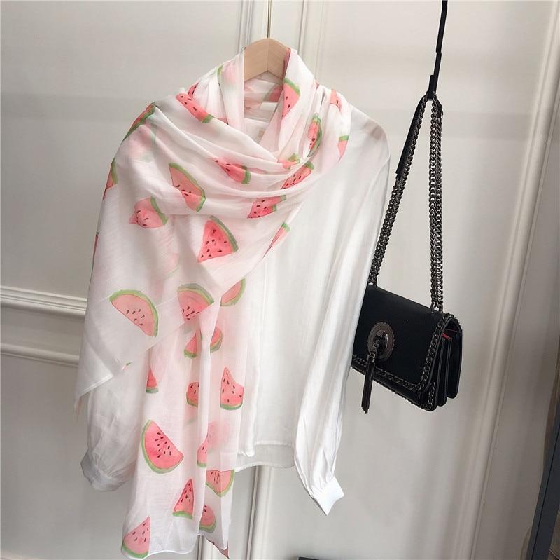 Literary Watermelon Printed   Scarf   Women Silk   Scarves   Women Summer Spring Winter Autumn Elegant High Quality   Scarf   2019