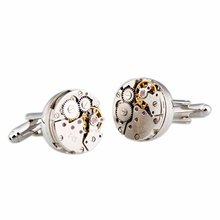 1 Pair High-end Men Steampunk Gear Watch Cufflinks Stainless Steel Sleeve Button Suits for Wedding Business Daily Use Hot