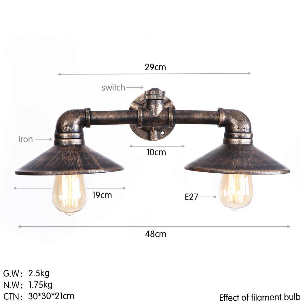 Двойной винтажный светодиодный настенный светильник прикроватный Железный водопровод Настенные светильники Лофт Декор светильники Эдисона настенные бра домашнее освещение