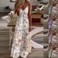 Женское винтажное платье макси, Элегантное Длинное Платье с открытой спиной в стиле бохо, пляжный сарафан с цветочным принтом для вечерние, ...