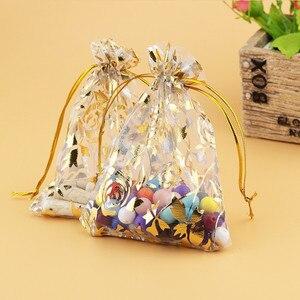 Image 4 - 100 pièces/lot 15x20, 17x23, 20x30 cm Rose fleur feuille grand Organza sac cordon pochettes pour mariage cadeau emballage sacs