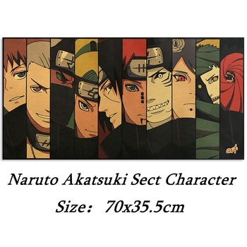 Anime Naruto Akatsuki Sect Character Poster Room Decoration Painting Home Wall Sticker Kraft Paper Picture Painting 70x35.5cm