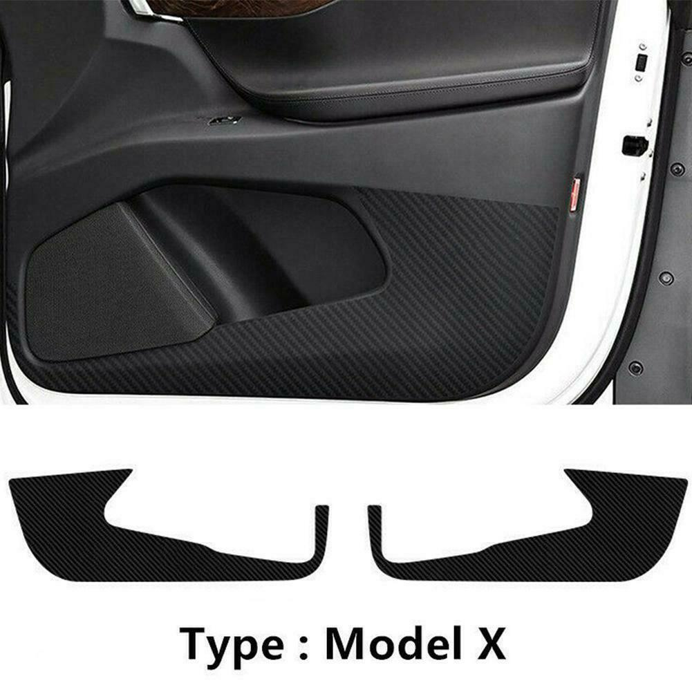 2pcs Black Carbon Fiber Car Anti-Kick Pads Brand New Auto Door Protector Cover Trim Stickers Accessories For Tesla Model X