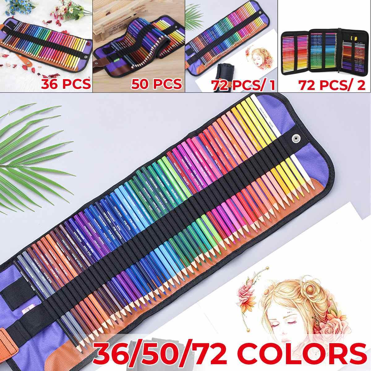 Deal°Canvas-Bag Painting Art-Supplies Sketch-Kit Color-Pencils-Set Drawing Artists 36/50/72-colors