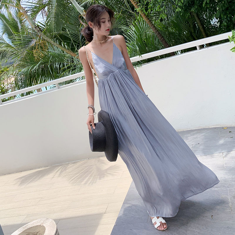 2019 Holiday Psychedelic Soot Loose-Fit Beach Skirt Camisole Sexy Dress