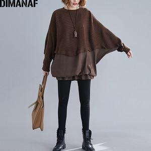 Image 2 - DIMANAF Oversize jesień kobiety sweter na drutach swetry topy Plus rozmiar kobiet dama mody na co dzień Batwing rękaw podstawowe odzież