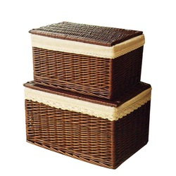 Handwoven Laundry Basket Wicker Storage Basket with Cloth Liners Large Cloth Organizer Box Pastoral Wicker Baskets with cover