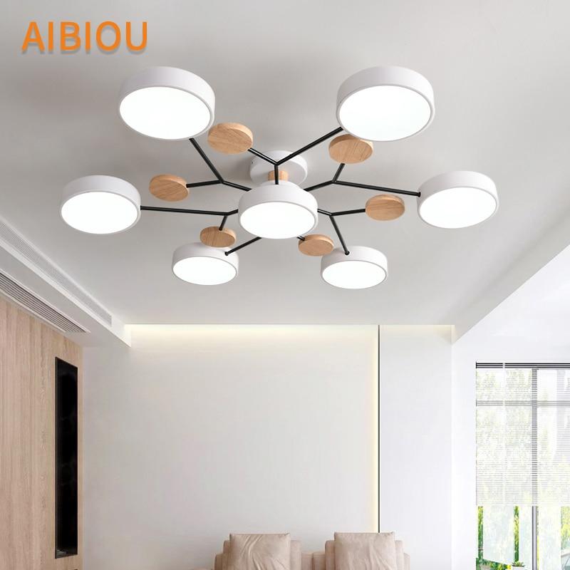 AIBIOU современный 220 В светодиодный потолочный светильник с круглыми металлическими абажурами для гостиной, скандинавские деревянные потолочные светильники для спальни