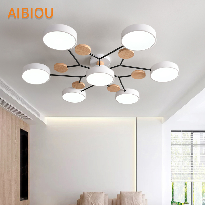 AIBIOU Modern 220V LED Ceiling Lights With Round Metal Lampshades For Living Room Nordic Wooden Bedroom Surface Mounted Lustres