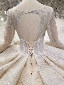 Image 5 - BGW HT43019 יוקרה חתונה שמלה עם ארוך רכבת תחרה נצנצים מבריק בעבודת יד חתונה שמלת ארוך שרוולים מוסלמי שמלה