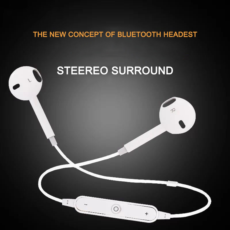 S6 Sport Wireless Headphone Neckband Line-controlled Bluetooth Earphone With Microphone Call Volume Control  For Phone