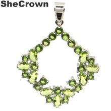 38x30mm SheCrown Created Green Peridot Gift For Man Silver Pendant