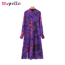 купить 2019 Women  Long Sleeve Dress Back Zipper Split Female Stylish Mid Calf Dresses Tide Purple Floral Print Midi Dress for Women дешево