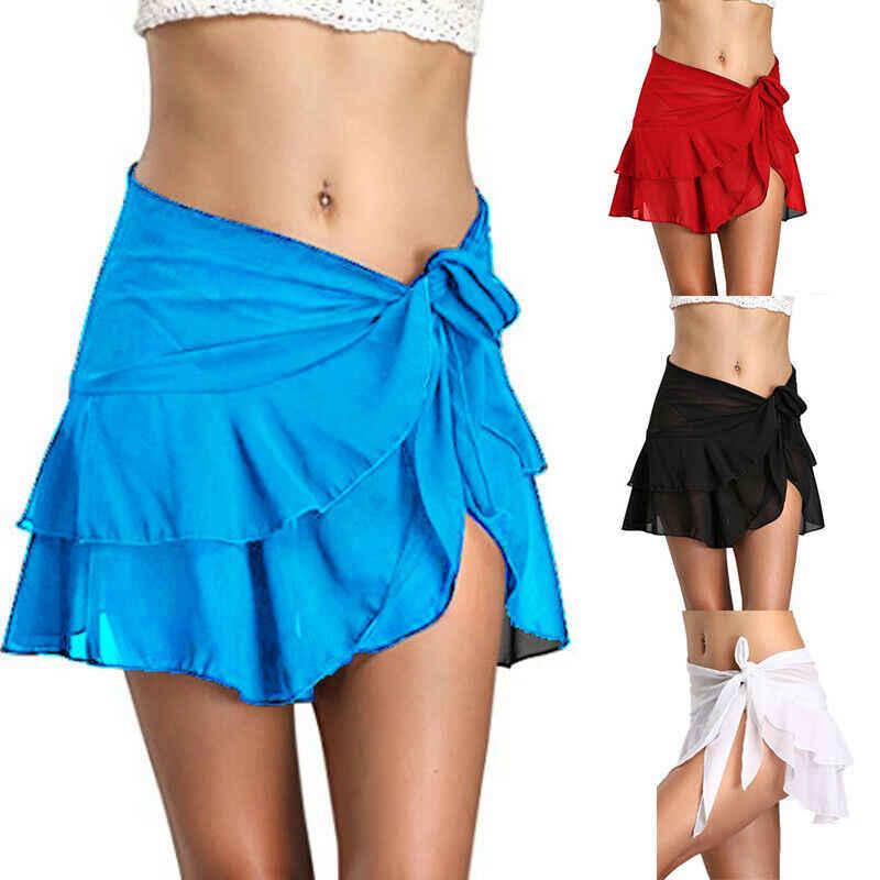 إمرأة ملابس سباحة حريمي بيكيني تغطية حتى شير شيفون شاطئ مصغّر تنّورة ملفوفة Sarong Pareo ملابس سباحة تغطية تنورة قصيرة