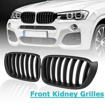 Car Front Kidney Grill Grilles Replacement Matte Black for BMW F25 F26 X3 X4 2014-2017 Car Styling