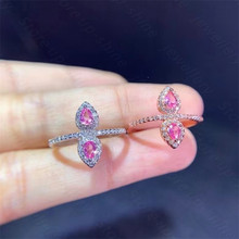 Natural color sapphire ring 925 silver women's ring simple atmosphere and long flowing style
