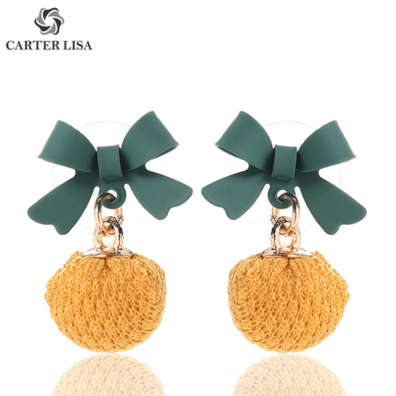 CARTER LISA New Bow Yarn Ball Drop Dangle Earings For Women Girl Fashion Jewelry Party Christmas Gifts Brincos Oorbellen