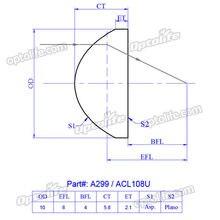 Lente do condensador asférico acl108u, comprimento focal de 8mm, diâmetro de 10mm