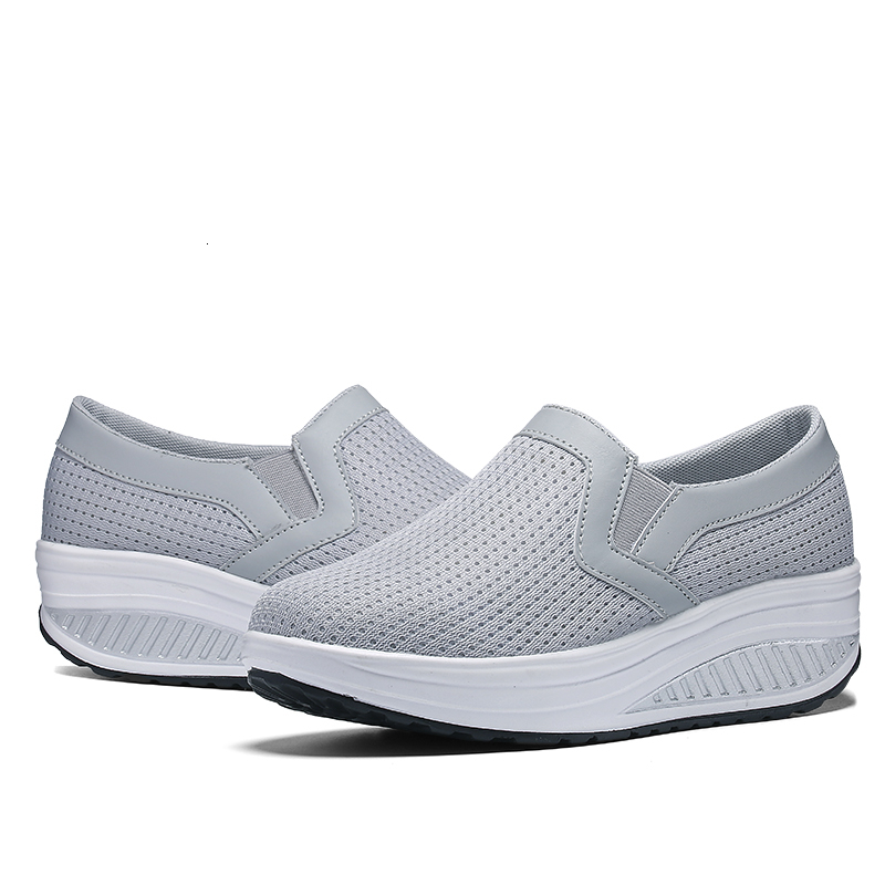 New Women Toning Shoes Weightlifting Increase Height 5 Cm Swing Shoes Platform Wedge Sneakers Ladies Breathable