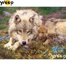 Полноразмерная/круглая алмазная живопись с волком и кубом 5d