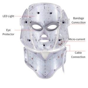 Image 2 - 7 색 Led 광자 전기 LED 얼굴 마스크 목 피부 젊 어 짐 안티 링클 여드름 광자 치료 스킨 케어 뷰티 마스크