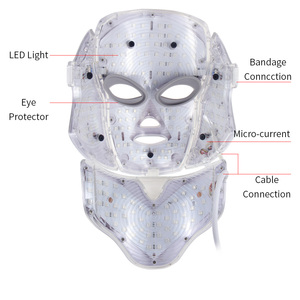 Image 2 - 7 色led光子電気ledフェイシャルマスクネック肌の若返りしわにきび光子治療スキンケア美容マスク