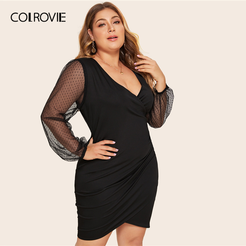 COLROVIE Plus Size Surplice Contrast Mesh Bishop Sleeve Dress Women Black Sexy Mini Dress 2020 V neck Solid Glamorous Dresses 3