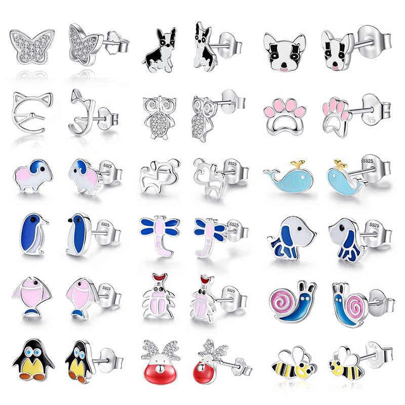 Authentic 925 Sterling Silver Earrings Insect Honey Bee Animal Dog Cat Stud Earrings for Women Girls Kids Fashion Jewelry Gift