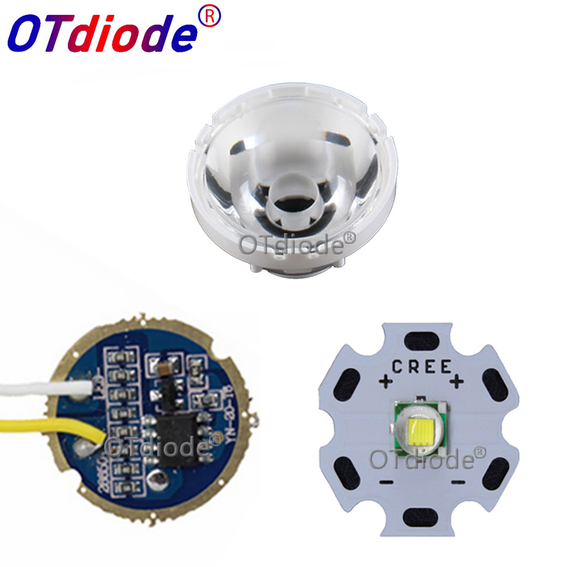Cree XM-L LED T6 White Light with 20mm star pcb+ 3.7V 5modes led Driver +T6 15degree led Lens with Base Holder kit