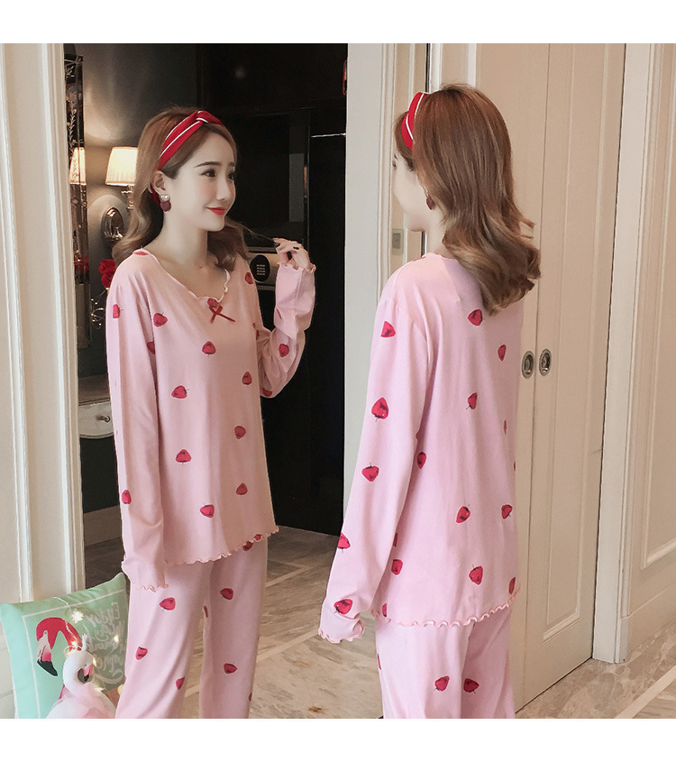 Autumn Women Cotton Pajamas Sets 2 Pcs Cartoon Printing Pijama Pyjamas Long Sleeve Bowknot Pyjama Sleepwear Sleep Set 64