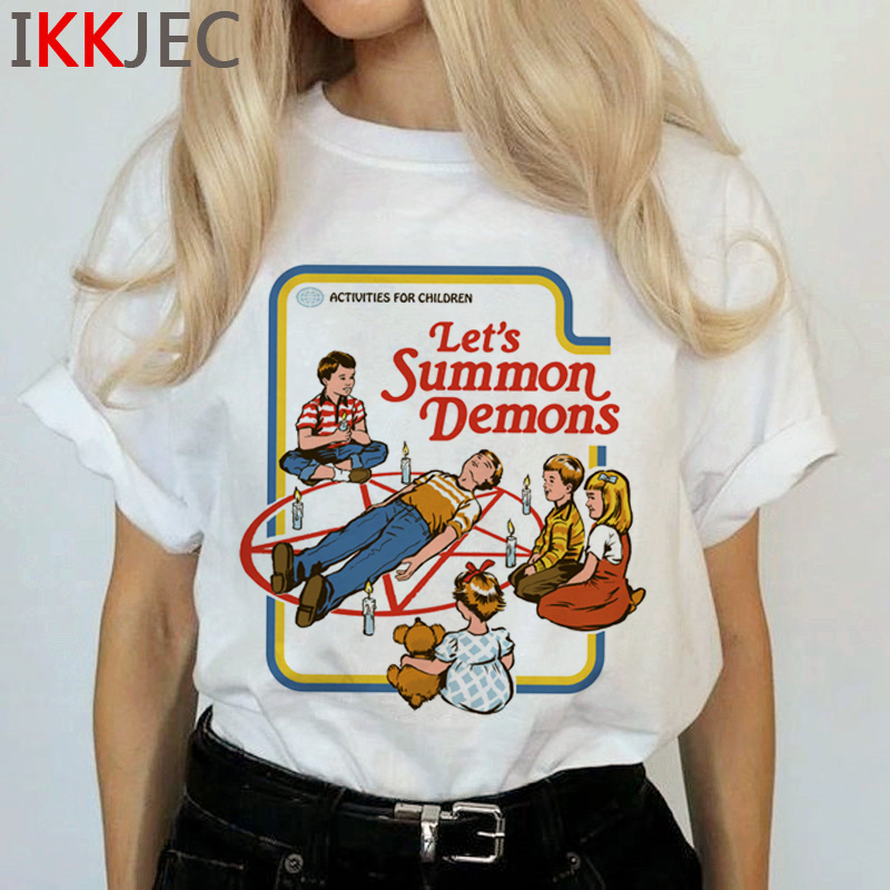 Satan Demon Death Scary Evil T Shirts Women Satanism T-shirt Grim Reaper Baphomet Satanist Horror Tshirt Hip Hop Top Tees Female 4