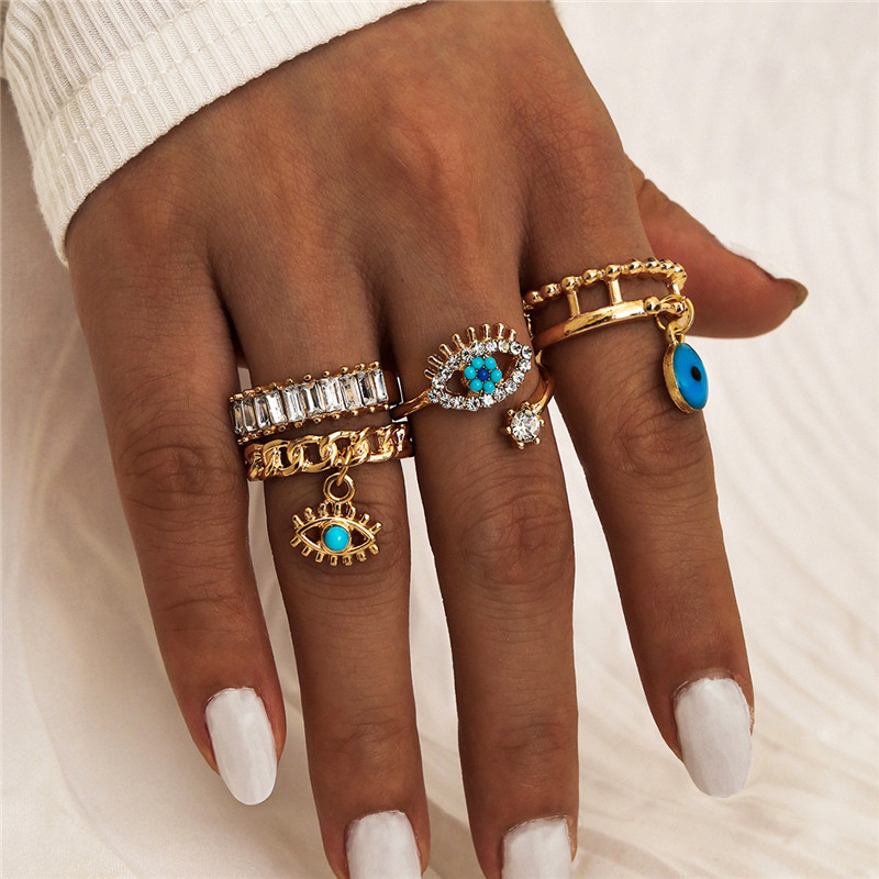 4Pcs/Set Gold Color Evil Eye Rings For Women Vintage Boho Crystal Knuckle Ring Set Female Party Jewelry Gift