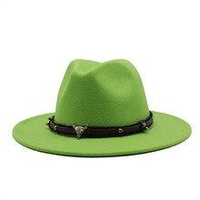 Seioum Jazz Caps Wool Felt Fedora Hat With Wide Brim Women Men Wool Winter Autum