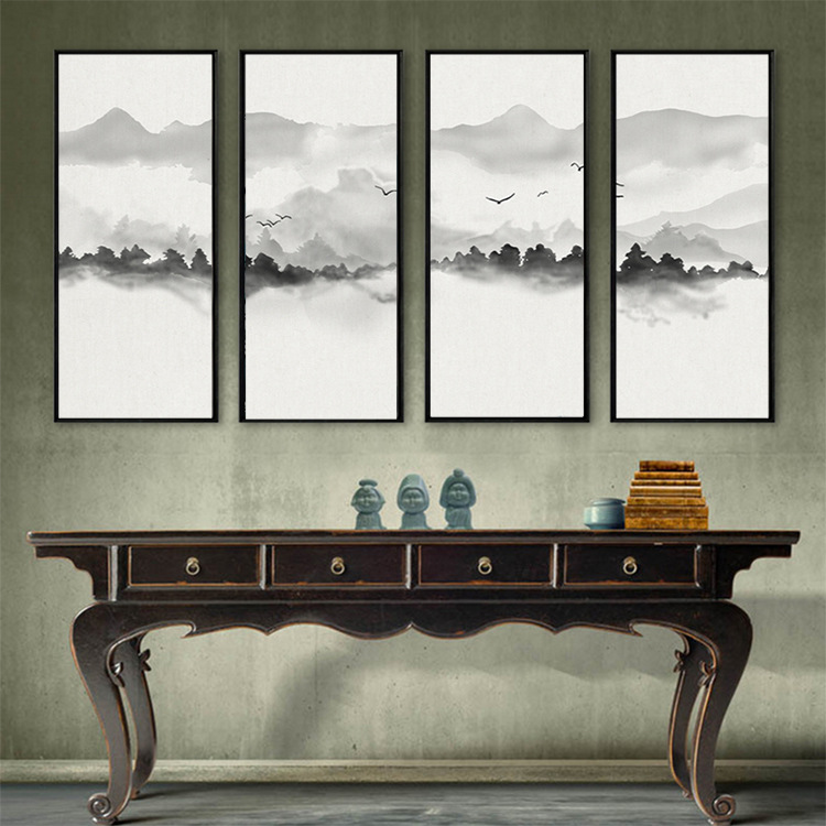 Hand-Painted New Chinese Style Ink Landscape 3D TV Backdrop Mural Living Room TV Wall Horizontal Wall Cloth Wallpaper Mural
