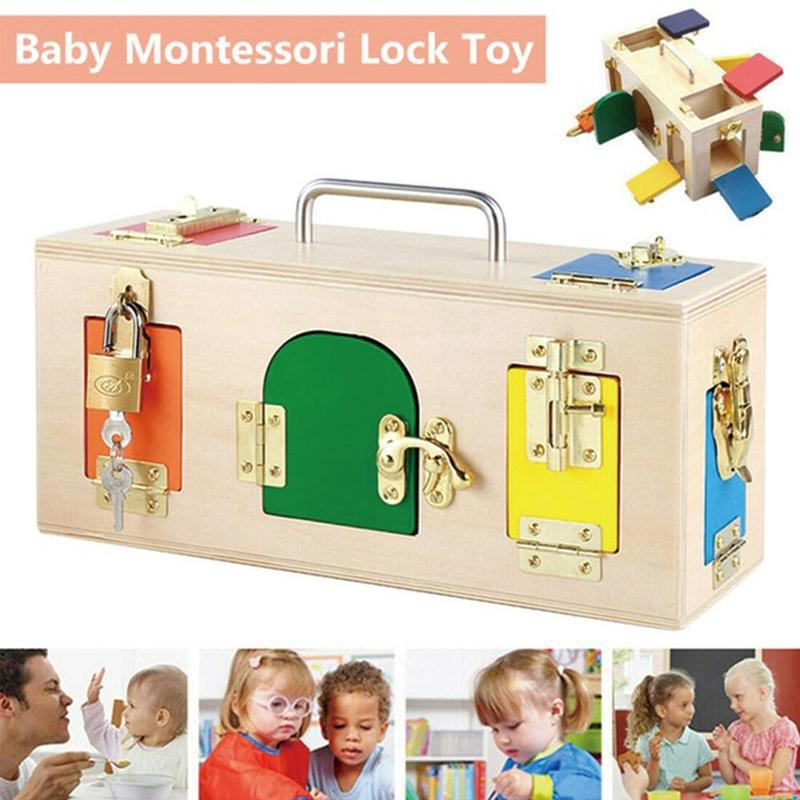 Children's Early Education Toys Colorful Wooden Lock Box Toy Intelligent Lock Science Lock Box Gift Unlock Game Birthday Gift