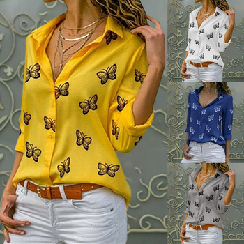 Fashion Women's Butterfly Print Blouse Shirt Spring Summer Casual Long Sleeve V Neck Ladies Buttons Tops Loose Blouses
