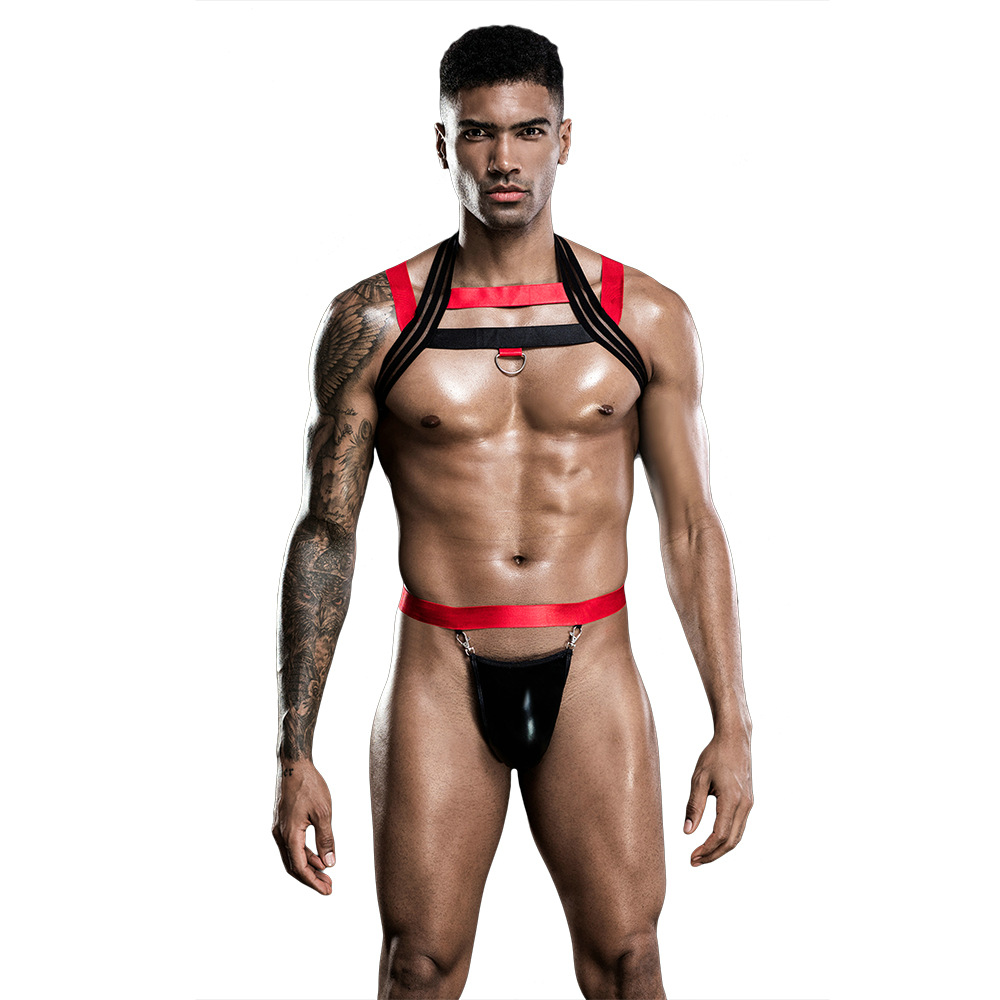 Men Sexy Red Black Leather Vest Flirting Bondage Tops Sexy SM Game Harness Gay Man Underwear Sex Men Costumes 7258