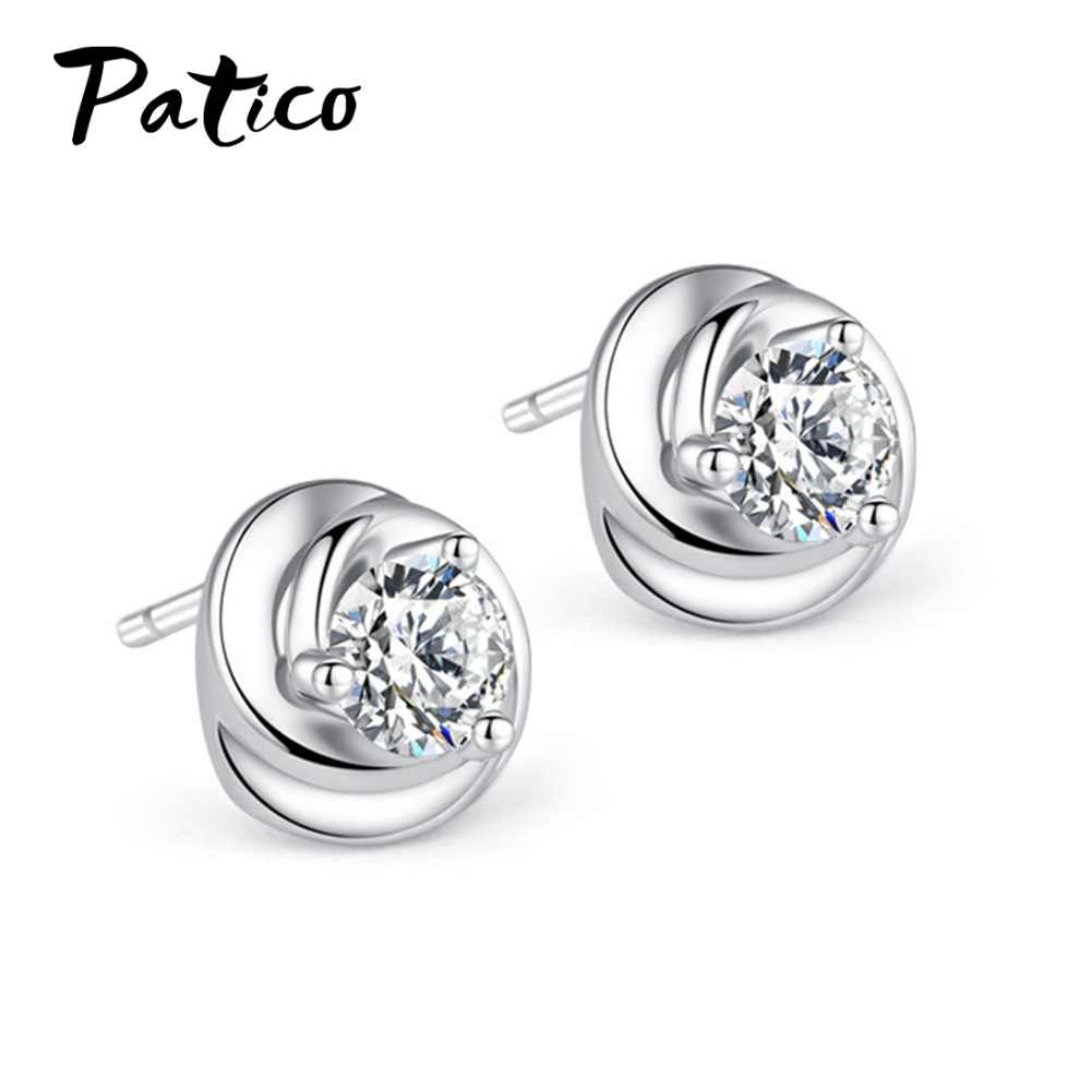 Trendy 925 Sterling Silver Flower Shape Stud Earrings For Women Party Cubic Zirconia Piercing Ear Rings Jewelry 2019 Brincos