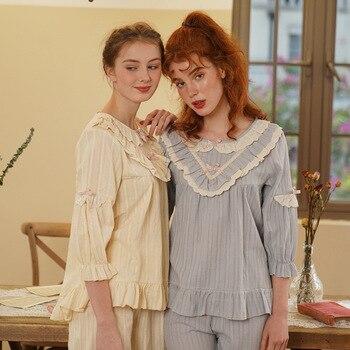 Pajamas Women Spring Autumn Pajamas for Women Cotton Ladies Long-sleeved Court Pajamas Cute Bow Princess Female Homewear Suit