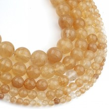 Gold Hair Rutile Quartz Stone Beads Smooth Round Loose Beads For DIY Jewelry Making Bracelets Accessories 15'' 4 6 8 10 12mm