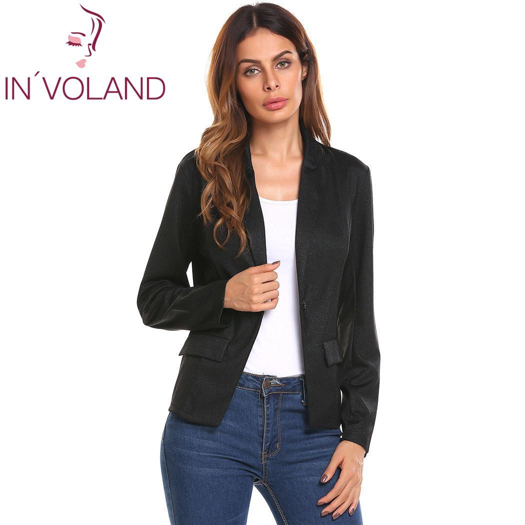 New Women Short Blazer Jackets Casual Single Button Slim Fit False Pockets Long Sleeve Bright Silk Jacket Blazer