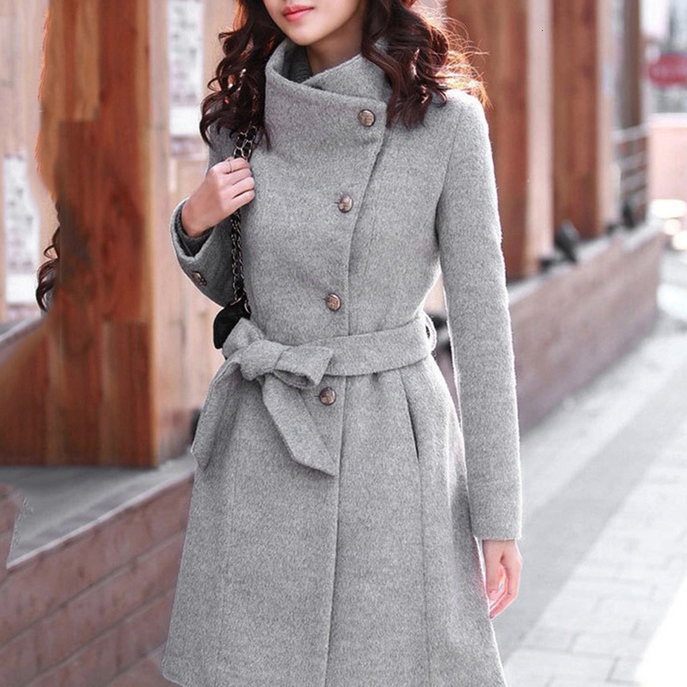 Winter Coat Womens Winter Lapel Wool Coat Trench Jacket Long Sleeve Overcoat Outwear Oversize Long Gray Trench Coat Mujer#3s