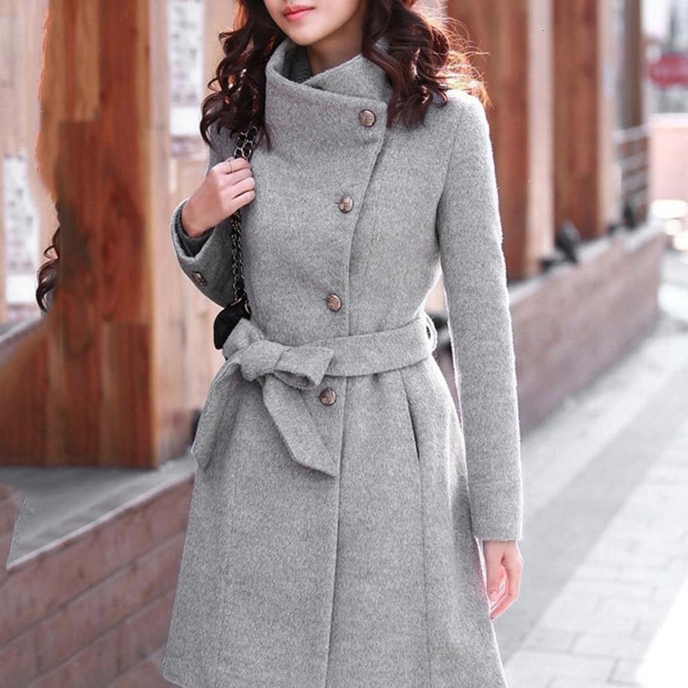 Winter Coat Womens Winter Lapel Wool Coat Trench Jacket Long Sleeve Overcoat Outwear Oversize Long Gray Trench Coat Mujer#3s