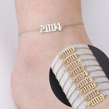 Skyrim moda feminina ano de nascimento perna tornozelo pulseira aço inoxidável cor ouro pé tornozeleira jóias presente aniversário 1989 a 2020