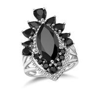 GZ ZONGFA-anillo de compromiso de Plata de Ley 925 con espinela negra Natural, anillo de compromiso